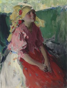 Abram Arkhipov – Young peasant woman, 1915; Oil on canvas, 91.3x70 cm