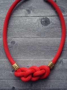 Red fire Rope Necklace / Statement Necklace / Summer necklace/ Braided rope necklace/Ancient Greek necklace