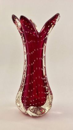 Mid-Century Murano Bud Vase in Red and Clear Cased Glass With