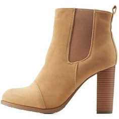 Charlotte Russe Camel Chunky Heel Chelsea Booties by Charlotte Russe... ($41) ❤ liked on Polyvore featuring shoes, boots, ankle booties, camel, cap toe boots, thick heel booties, zip ankle boots, ankle boots and stretch boots
