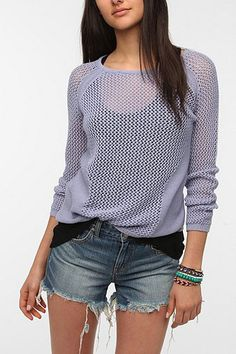 Silence & Noise Placed Mesh Pullover Sweater from Urban Outfitters.
