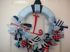 Baby Boy Ribbon Wreath in Nautical II Theme for by DaisyTags, $46.00
