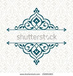 Vintage invitation card with persian pattern. - stock vector