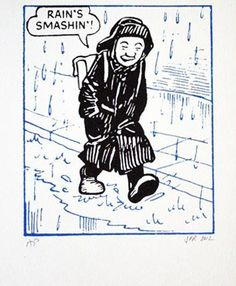 Oor Wullie front cover Handmade screen print on mould-made paper. Signed and numbered out of 200 in pencil by the printer, John Patrick Reynolds St Andrews Cross, Posters Uk, I Love Rain, Silk Screen Printing, Dundee, My Heritage, Comic Art, Comic Books, Childhood Memories