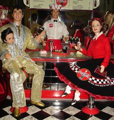 Elvis, Tommy as Elvis, Soda Fountain Ken and Coca-Cola Sweetheart Barbie with…