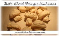 Easy Make-Ahead Meringue Mushrooms for a Yule Log or Christmas Buche de Noel or other fanciful cake. Alice in Wonderland ?