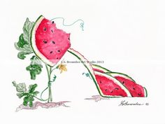 Watermelon Shoe - New in my Fruit Series along with grapes, cherries, strawberries and mixed fruit.  Great kitchen art gift http://www.brownleeartstudio.com