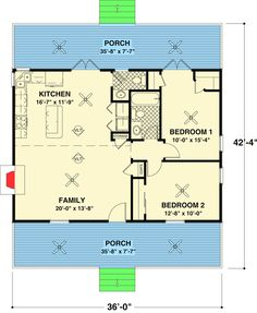 Two Bedroom Ranch House Plans Inspirational Cottage 2 Beds 1 5 Baths 954 Sq Ft Plan 56 547 Main Floor Cottage Style House Plans, Cottage Style Homes, Ranch House Plans, Cottage Design, Guest Cottage Plans, Cottage Floor Plans, The Plan, How To Plan, Plan Plan