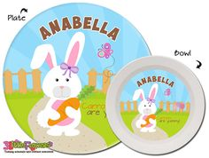 Personalized Bunny Plate and Bowl Set - Personalized Melamine Children Plate and Cereal Bowl - Kids Dishes for Mealtime - Girl Rabbit