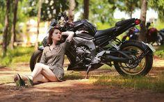 lady with bike by s1dada