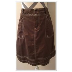 Brown skirt The most soft and comfy skirt ever!! 100% organic cotton. 19 in long. Hips 19 in across. Brown skirt with off white stitching. Size 8. Aventura Skirts A-Line or Full