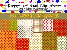 Fall Colored Backgrounds product from Dots-of-Fun-Clip-Art on TeachersNotebook.com