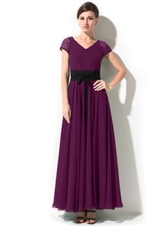 A-Line/Princess V-neck Ankle-Length Chiffon Lace Mother of the Bride Dress With Bow(s) (008042825) - JJsHouse