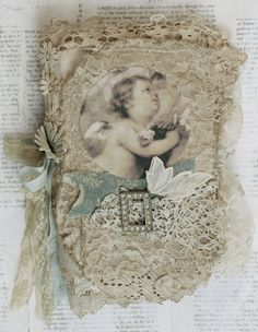 Mixed Media Fabric Collage Book of Cherubs and Old Lace | eBay