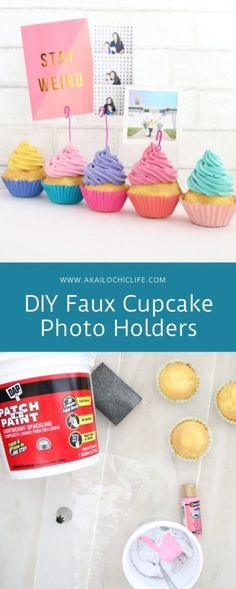 A full tutorial on how to easily make fun DIY Faux Cupcake Photo Holders, perfect for holding photos at birthday parties! Cupcake Crafts, Cupcake Art, Fake Cupcakes, Fake Cake, Candy Christmas Decorations, Diy Party Decorations, Cupcake Cream, Cupcake Pictures, Pretend Food