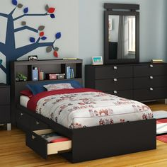 Spark Bookcase Storage Platform Bed