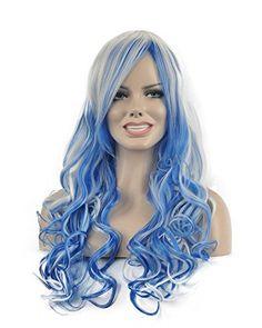 Diy-Wig Beautiful Mermaid Multi-Color Long Curly Wave Obl…