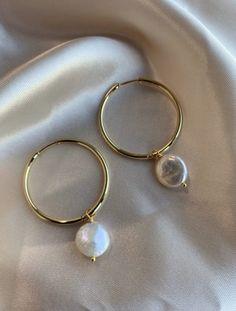 Shell Earrings, Gold Hoop Earrings, Gold Hoops, Dainty Earrings, Gemstone Earrings, Pearl Earrings, Gold Bridesmaids, Bridesmaid Earrings, Jewelry Editorial