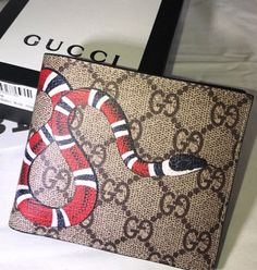 4f692de695c Gucci Snake Wallet Supreme King Snake Wallet Beige with White Box