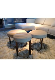 Clusters of Ottomans: Use as side tables OR arrange in clusters to create a unique and chic coffee table!