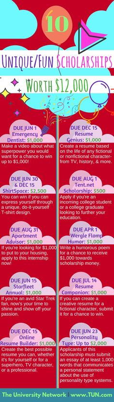 If you're looking for fun scholarships, here they are! #unique #scholarship