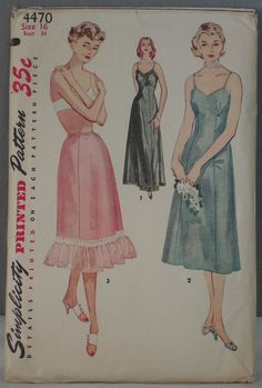 vintage Simplicity pattern 4470 full slip and half slip 1950s size 16, Free US shipping, by FindersofKeepers, $12.97