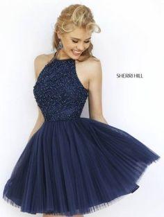 Sherri Hill 32335 Beaded Halter High Neck Homecoming Dress Sale In the Purple shade