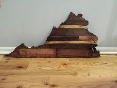 Virginia Rustic Wood State Cut Out Wooden by CoveredBridges