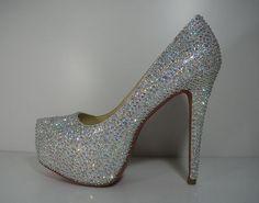 Custom Clear Silver Rhinestones Crystal Heels Pumps with Red Bottom on Etsy, $150.00