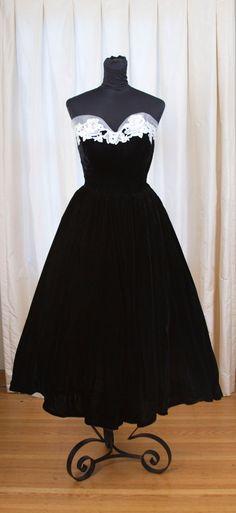 1950's Formal Dress // Black Silk Velvet and White Lace Tulle Emma Domb Full Skirt Dress. $220.00, via Etsy.