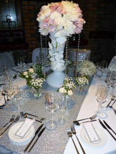 Silver Sequin Table Runner Supplied By Simply Bows And Chair Covers Flowers  By Suzi At Flowers With A Twist @The Chapel Cardiff