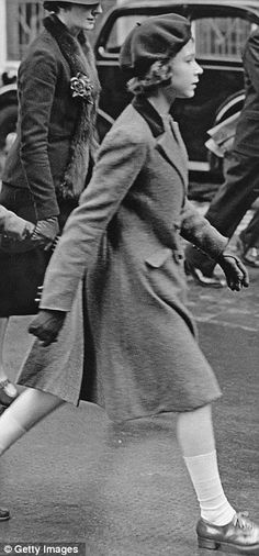 Queen Elizabeth II, then Princesses Elizabeth strides towards the headquarters of the YWCA (Young Women's Christian Association), off Tottenham Court Road, London, 15th May 1939
