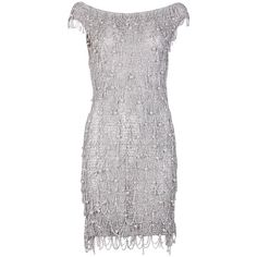 1970's Loris Azzaro Silver Mesh Chain & Beaded Bodycon Mini Dress 1