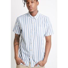 Forever 21 Men's  Awning-Striped Shirt ($18) ❤ liked on Polyvore featuring men's fashion, men's clothing, men's shirts, men's casual shirts, mens short sleeve button up shirts, mens button up shirts, mens casual button up shirts, mens casual short-sleeve button-down shirts and mens short sleeve button down casual shirts