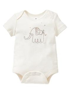 Favorite embroidered elephant bodysuit   Gap