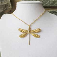 Gold Dragonfly, Pendant Necklace, Statement Necklace, Wedding Necklace, Bridesmaid Necklace. $20.00, via Etsy.