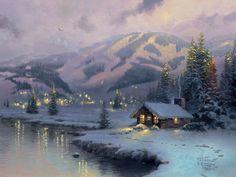 Olympic Mountain Evening by Thomas Kinkade 2001