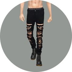Male black&white jeans at Marigold via Sims 4 Updates
