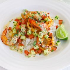 Barbequed Prawns With Salsa Michelle Bridges, Online Supermarket, Salsa Recipe, Prawn, Bruschetta, Dinner Recipes, Meals, Cooking, Ethnic Recipes