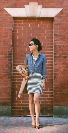Fall casual street style chambray knotted shirt + striped dress and leopard pumps Casual Street Style, Casual Chic, Casual Fall, Extra Petite, Chambray Shirt Outfits, Casual Outfits, Denim Shirt, Dress Casual, Chambray Top