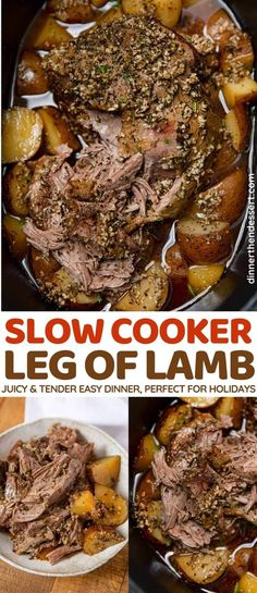 Slow Cooker Leg of Lamb is an easy lamb recipe perfect for Easter dinner! Juicy, tender boneless leg of lamb with seasoned with garlic, rosemary, and lemon. #dinner #slowcooker #crockpot #lamb #legoflamb #weeknightdinner #holidaydinner #dinnerthendessert Slow Cooker Leg Of Lamb Recipe, Boneless Lamb Leg Recipe, Boneless Lamb Roast, Crockpot Lamb, Lamb Roast Recipe, Slow Cooked Lamb, Slow Cooker Roast, Slow Cooker Recipes, Crockpot Recipes