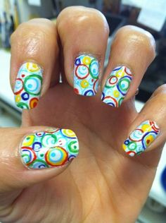 Bubbles Colored Wild nail art