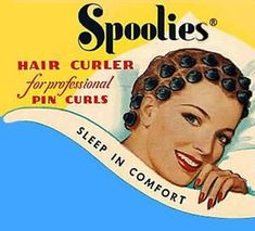 Spoolies hair curlers.  Mine were pink.  Made of rubber, they were shaped like hourglasses -- you wound wet hair around the center and then popped one end of the Spoolie down around the other end.