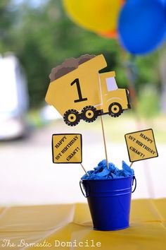 construction party centerpieces | Truck Themed Birthday Party |The Domestic Domicile