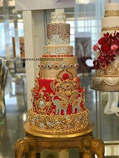 My inspiration became the amazing embroidery details of an indian wedding lengha. Floral Wedding Cakes, Fall Wedding Cakes, Wedding Cakes With Cupcakes, Elegant Wedding Cakes, Wedding Cake Designs, Indian Wedding Food, India Wedding, Indian Wedding Decorations, Wedding Themes