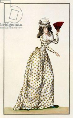 Ladies' 'Robe Etoile' from Journal de la Mode et du Gout, 1791 (coloured engraving)