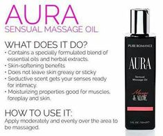 The best massage oil ever.  Smells great and doesnt leave you greasy or ruin your sheets with oil stains. www.pureromance.com/carlafoye