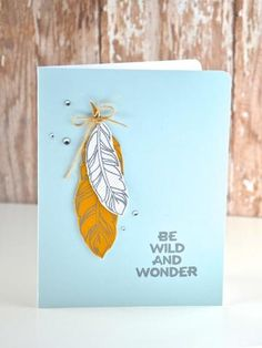 Absolutely beautiful and clean handmade card design. All stamps, dies, and card stock by A Muse Studio. Fine Feathers stamp set, Be Wild stamp set, Clear Dots Twinkle Stickers. #cas #diy #stamping #handstamped #papercrafts #cardideas #amusestudio #wonder