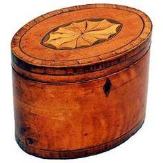 Antique 18th Century Satinwood Oval Tea Caddy
