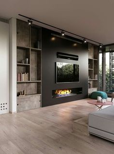 Modern and attractive TV wall design. kamin Modern and attractive TV wall design. Home Fireplace, Living Room With Fireplace, Fireplace Design, Wall Fireplaces, Tv With Fireplace, Basement Fireplace, Linear Fireplace, Ethanol Fireplace, Modern Fireplaces